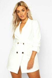 Womens Plus Double Breast Gold Button Blazer Dress - white - 20, White
