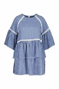 Womens Plus Gingham Print Embroidered Smock Dress - blue - 20, Blue