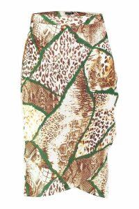 Womens Plus Woven Mixed Animal Print Wrap Midi Skirt - brown - 18, Brown