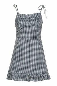Womens Petite Gingham Tie Strap Frill Hem Dress - black - 14, Black