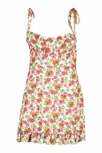 Womens Plus Floral Ruched Cup Skater Dress - green - 18, Green