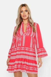 Womens Plus Aztec Smock Dress - red - 16, Red