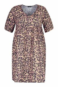 Womens Plus Leopard Smock Dress - brown - 18, Brown