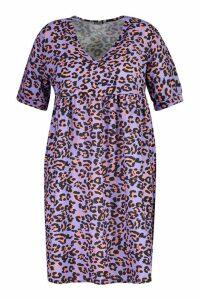Womens Plus Leopard Smock Dress - purple - 18, Purple