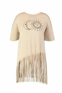 Womens Plus Sun And Moon Tassel Beach Dress - beige - 18, Beige