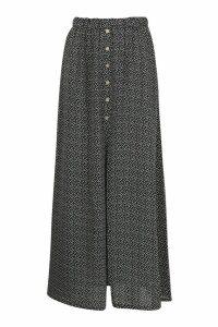 Womens Petite Button Front Spot Maxi Skirt - black - 6, Black