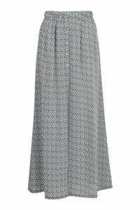 Womens Petite Button Front Spot Maxi Skirt - white - 10, White