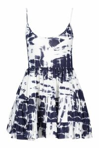 Womens Petite Strappy Tie Dye Smock Dress - blue - 10, Blue