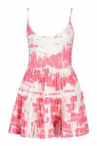 Womens Petite Strappy Tie Dye Smock Dress - Pink - 14, Pink
