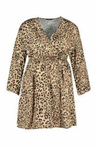 Womens Plus Satin Leopard Print Wrap Dress - brown - 24, Brown