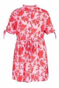 Womens Plus Floral Woven Tie Waist Shirt Dress - Pink - 18, Pink