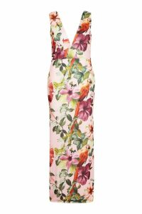 Womens Plus Jungle Plunge Front Maxi Dress - Pink - 20, Pink