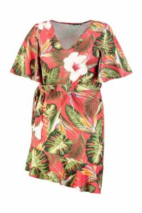 Womens Plus Tropical V Neck Ruffle Smock Dress - red - 26, Red
