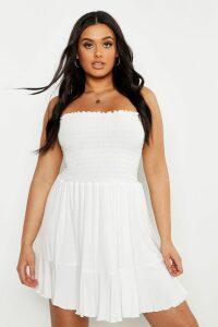 Womens Plus Sheering Bandeau Beach Skater Dress - white - 26, White