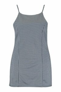 Womens Plus Gingham Strappy Pinafore Dress - navy - 18, Navy