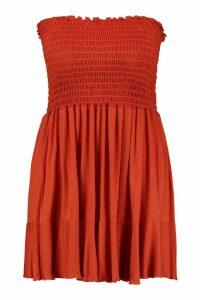 Womens Plus Sheering Bandeau Beach Skater Dress - orange - 20, Orange