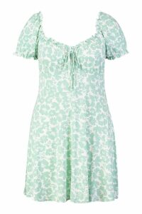 Womens Plus Ruched Detail Floral Skater Dress - white - 24, White
