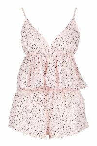 Womens Star Print Ruffle Short Set - pink - 12, Pink