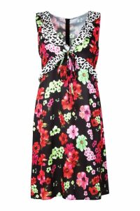 Womens Plus Satin Floral Mixed Ruffle Midi Dress - black - 20, Black