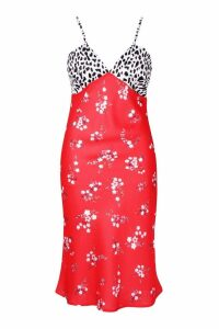 Womens Plus Satin Mixed Floral Bias Cut Midi Dress - red - 20, Red