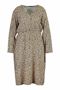 Womens Plus Leopard Print Wrap Midi Dress - brown - 20, Brown