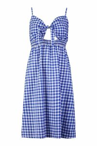 Womens Petite Tie Front Gingham Midi Dress - blue - 10, Blue