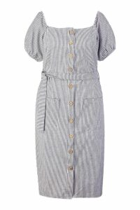 Womens Plus Button Front Stripe Linen Midi Dress - navy - 20, Navy