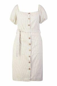 Womens Plus Button Front Stripe Linen Midi Dress - beige - 18, Beige