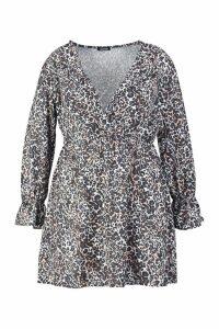 Womens Plus Leopard Ruffle Plunge Smock Dress - brown - 20, Brown