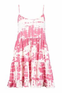Womens Plus Tie Dye Strappy Smock Dress - Pink - 22, Pink