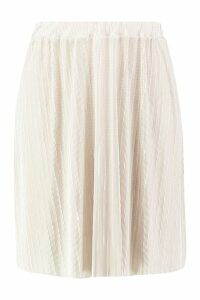 Womens Plus Plisse Skater Skirt - beige - 20, Beige