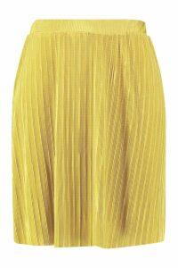 Womens Plus Plisse Skater Skirt - yellow - 26, Yellow