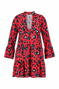 Womens Plus Leopard Smock Dress - red - 24, Red
