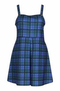 Womens Plus Check Pinafore Dress - blue - 20, Blue