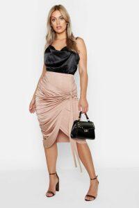 Womens Plus Slinky Wrap Rouched Detail Midi Skirt - beige - 26, Beige