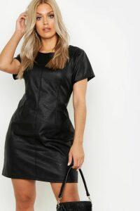 Womens Plus PU Cap Sleeve Shift Dress - black - 20, Black