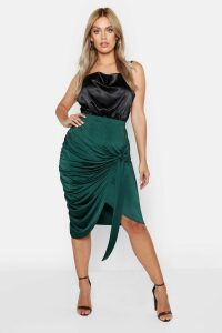 Womens Plus Slinky Wrap Rouched Detail Midi Skirt - green - 26, Green