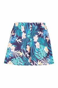 Womens Plus Tropical Floral Woven Flippy Short - navy - 28, Navy