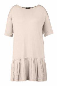 Womens Plus Drop Hem Short Sleeve Jersey Smock Dress - beige - 20, Beige