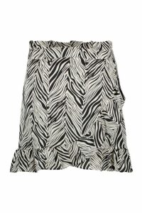 Womens Plus Satin Zebra Print Ruffle Wrap Skirt - black - 24, Black