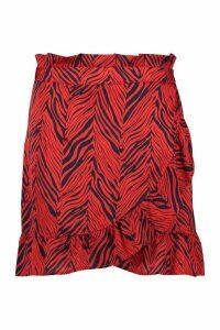 Womens Plus Satin Zebra Print Ruffle Wrap Skirt - red - 22, Red