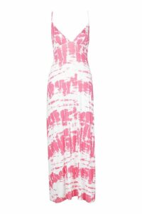 Womens Petite Strappy Tie Dye Maxi Dress - Pink - 6, Pink