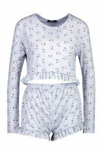 Womens Ditsy Floral Frill Short Set - grey - XS, Grey