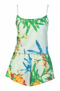 Womens Tropical Print Cami & Short Pyjamas - green - 12, Green