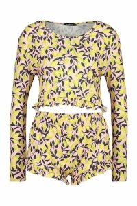 Womens Lemon Print Frill Shorts Set - Pink - XS, Pink