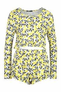 Womens Lemon Print Frill Shorts Set - white - XS, White