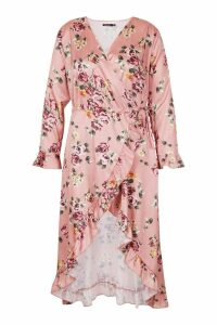 Womens Plus Wrap Floral Midi Dress - pink - 26, Pink