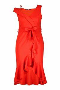 Womens Plus Asymmetric Belted Ruffle Hem Midi Dress - orange - 28, Orange