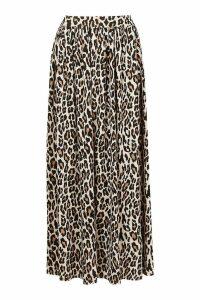 Womens Petite Floor Sweeping Animal Print Maxi Skirt - brown - 8, Brown