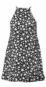 Womens Plus Dalmatian Ruffle Hem Sundress - black - 18, Black
